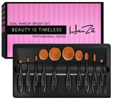 Makeup Brushes by HanZá - 10 PIECE Professional Oval Makeup Brush Sets - Easily Blend and Contour Cosmetics!