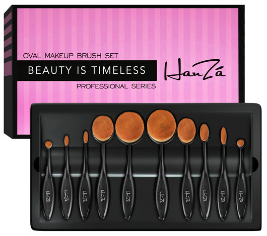 1d287ea086ac Makeup Brushes by HanZá - 10 PIECE Professional Oval Makeup Brush Sets -  Easily Blend and Contour Cosmetics!