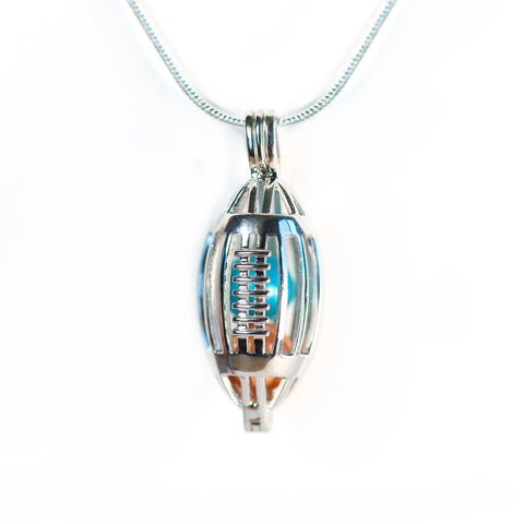 Sterling Silver Football Cage Pendant
