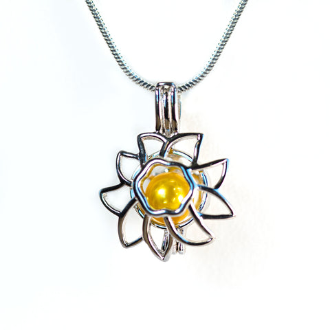 Sterling Silver Sunflower Cage Pendant