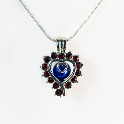 Silver Plated Ruby Cage Pendant