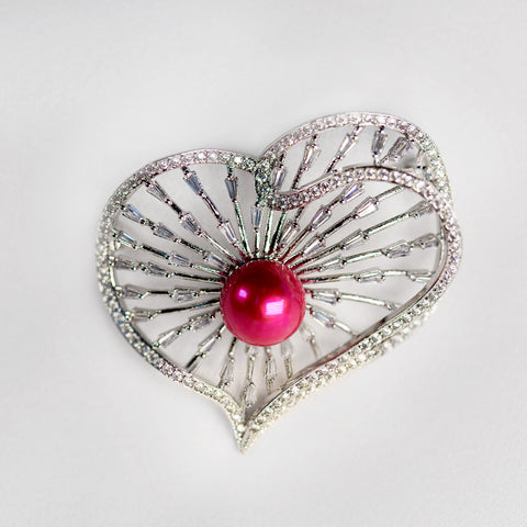 Silver Plated Heart Brooch