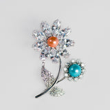 Blow Out- Flower Brooch and Pearls