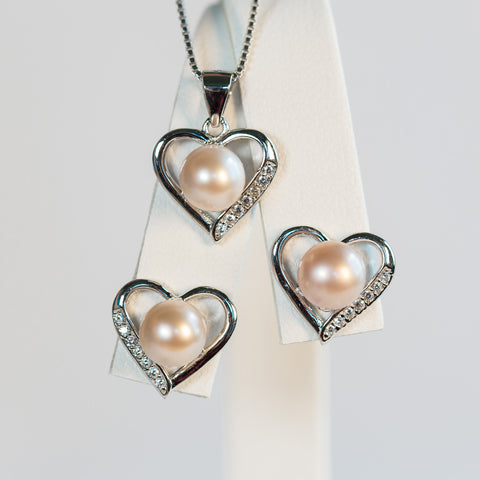 Sterling Silver Heart Earrings and Pendant Set