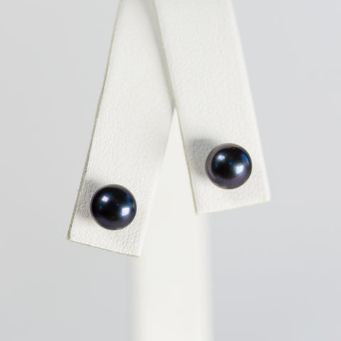 Black Simple Pearl Earrings
