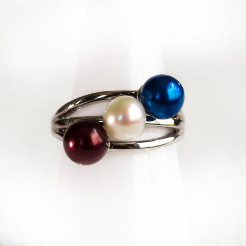 Blow Out- Triple Stack Ring and Pearl
