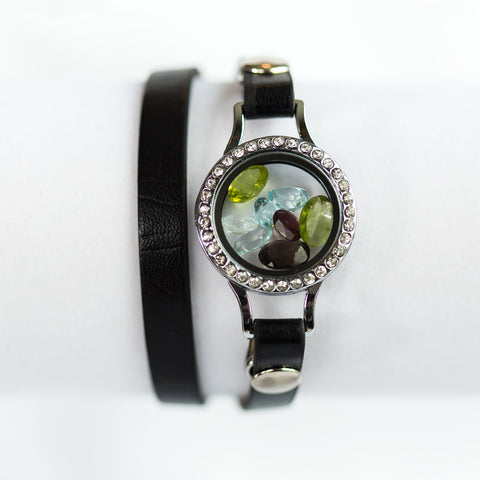 Leather Wrap Gemstone Locket Bracelet