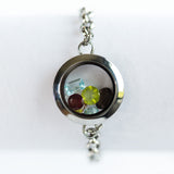 Link Gemstone Locket Bracelet