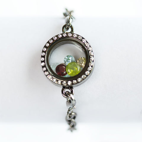 Heart Charm Gemstone Locket Bracelet