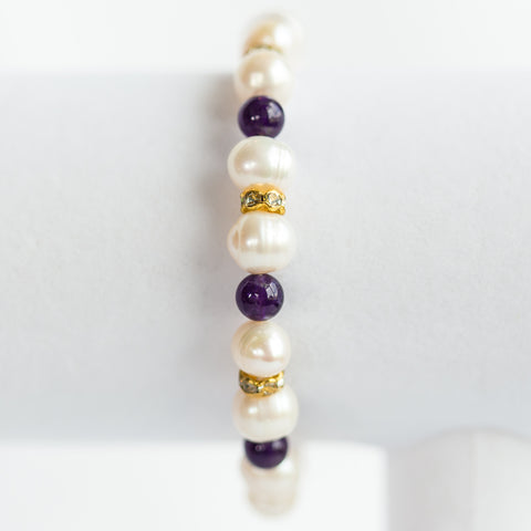 Amethyst With Gold Accent Bracelet