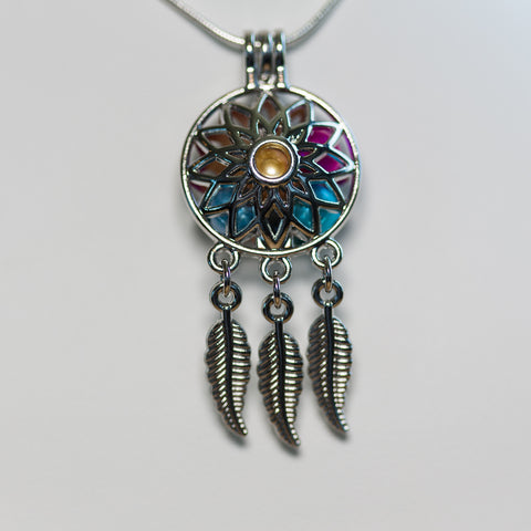 Silver Plated Sunflower Dreamcatcher Cage Pendant