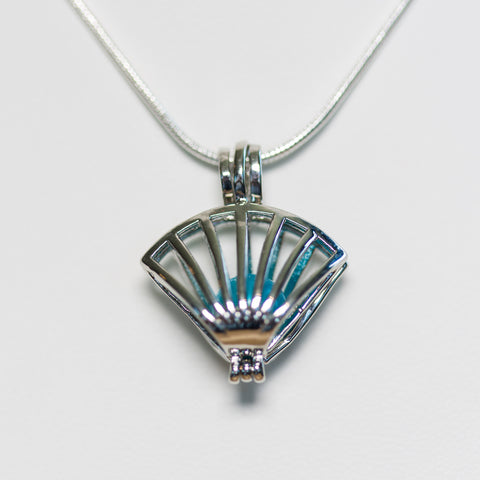 Silver Plated Shell Cage Pendant
