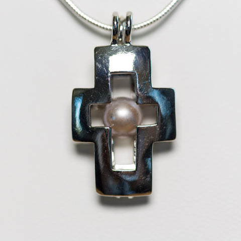 Silver Plated Cross Cage Pendant