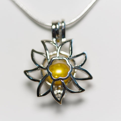 Silver Plated Sunflower Cage Pendant