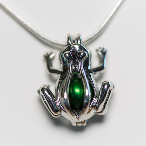 Silver Plated Frog Cage Pendant