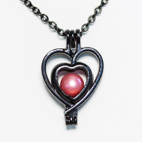 Silver Plated Black Double Heart Cage Pendant