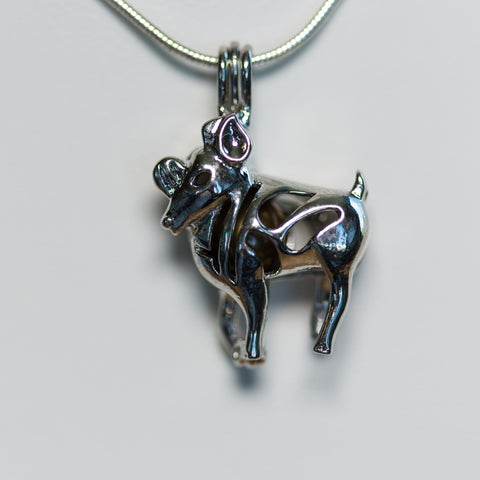 Silver Plated Aries Cage Pendant