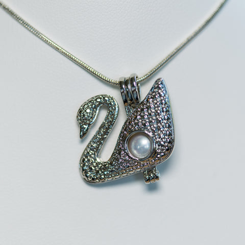 Silver Plated Swan Cage Pendant