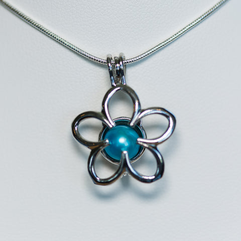 Silver Plated Spring Flower Cage Pendant