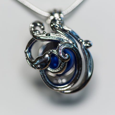Silver Plated Ocean Waves Cage Pendant