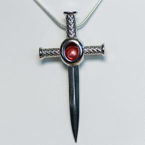 Silver Plated Sword Cage Pendant