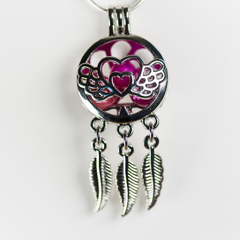 Silver Plated Angel Dreamcatcher Cage Pendant