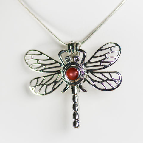 Silver Plated Dragonfly Cage Pendant