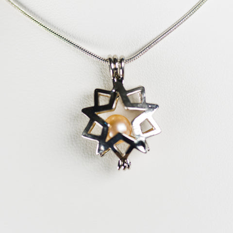 Silver Plated Double Star Cage Pendant