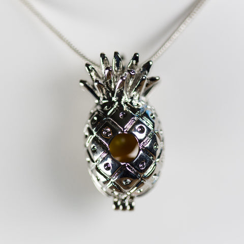 Silver Plated Pineapple Cage Pendant