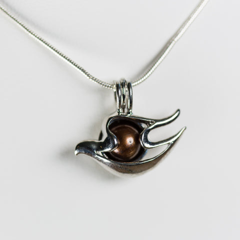 Silver Plated Dove Cage Pendant