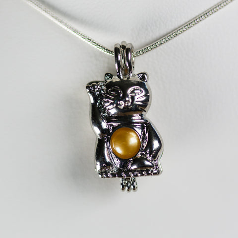 Silver Plated Cat Cage Pendant