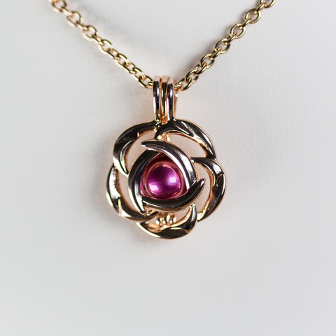 Silver Plated Rose Gold Bloom Cage Pendant