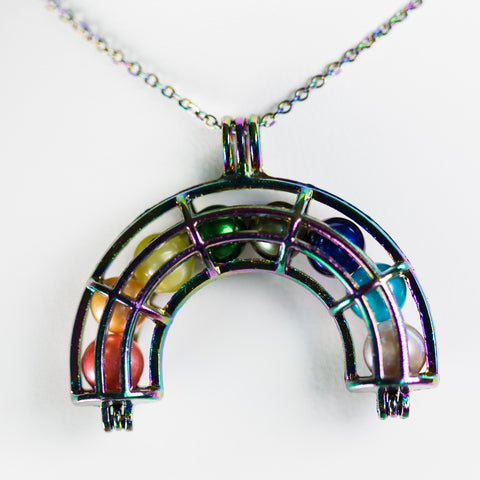 Silver Plated Rainbow Rainbow Cage Pendant