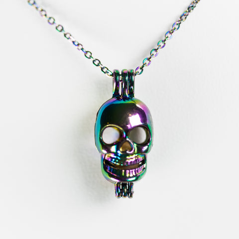 Silver Plated Rainbow Skull Cage Pendant