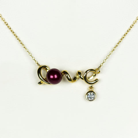 Gold Plated Sterling Silver Love Necklace