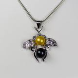 Blow Out- Bumble Bee Pendant and Pearls