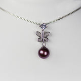 Blow Out- Butterfly Pendant and Pearl