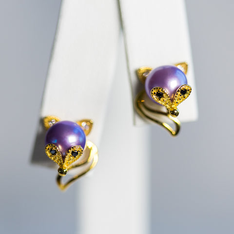 Gold Plated Sterling Silver Fox Earrings