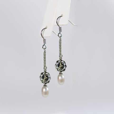 White Posh Out Earrings