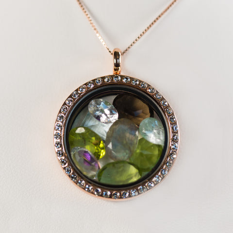 Premium Low Profile Round Gemstone Locket
