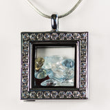 Premium Silver Square Gemstone Locket