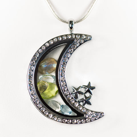 Premium Silver Moon Gemstone Locket