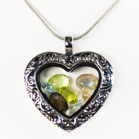 Premium Antique Heart Gemstone Locket