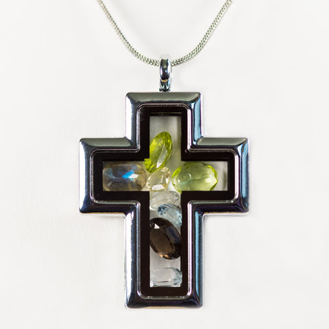 Premium Silver Cross Gemstone Locket