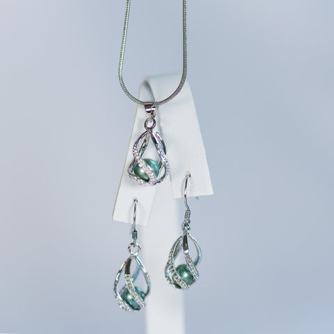 Sterling Silver Teardrop Earrings and Pendant Cage Set