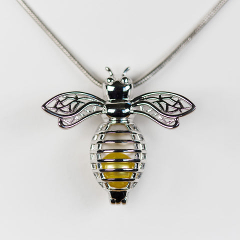 Sterling Silver Bee Cage Pendant