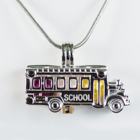 Sterling Silver School Bus Cage Pendant