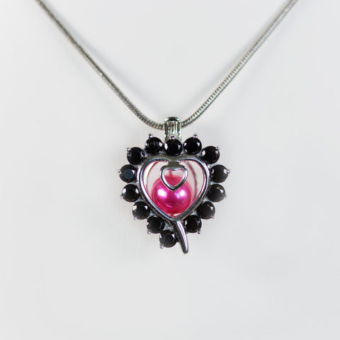 Sterling Silver Heart With Black CZ Accent Pendant