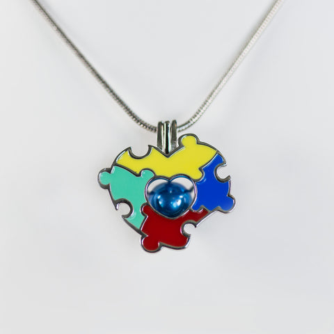 Sterling Silver Autism Awareness Cage Pendant
