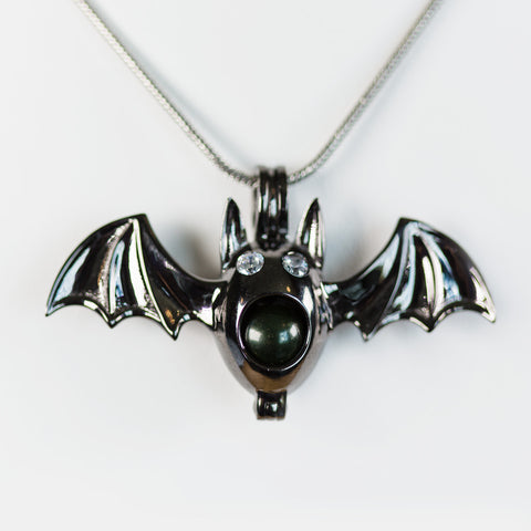 Sterling Silver Black Bat Cage Pendant